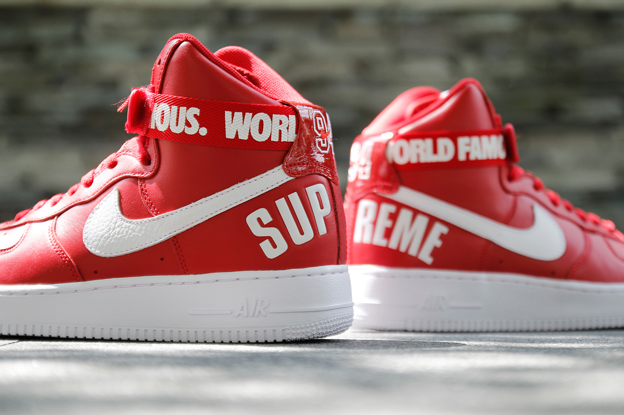 "brand new 10953 de5b3 Supreme x Nike Air Force 1 High ""Red"""
