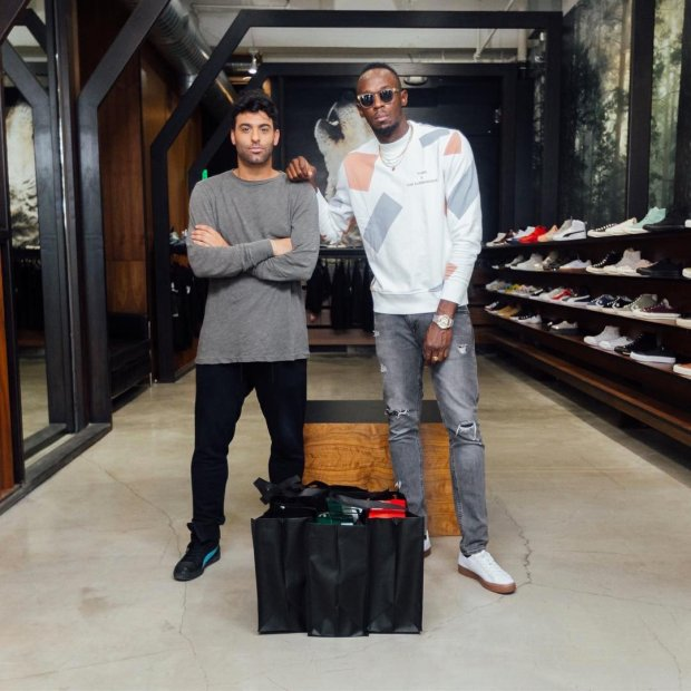 e11dad6d696 Usain Bolt goes Sneaker Shopping with Joe La Puma at Blends in Los Angeles  and talks about getting his own signature sneaker and meeting Michael  Jordan.