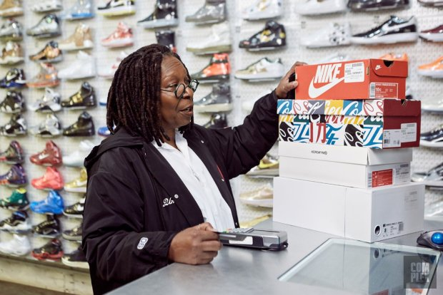 6d6c8e7058cb3 Whoopi Goldberg goes Sneaker Shopping with Complex s Joe La Puma at Stadium  Goods in NYC and talks about her love for Foamposites